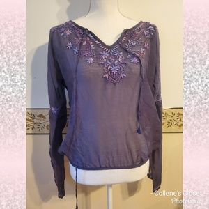 Lucky Brand Medium Purple Sheer Floral Top